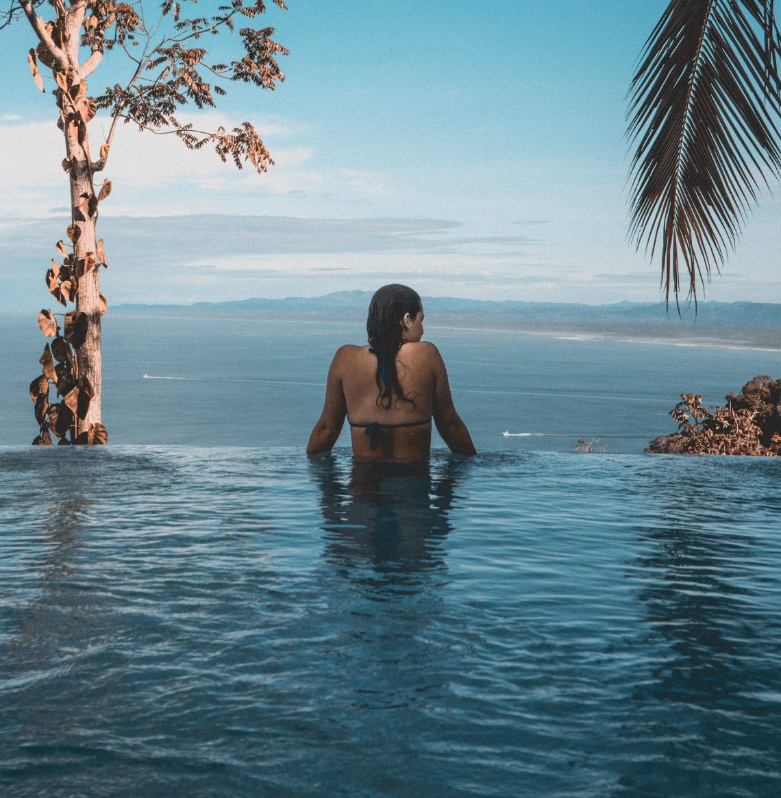 woman sitting in water