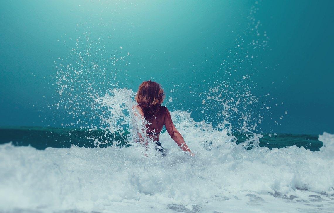 splashing through the waves