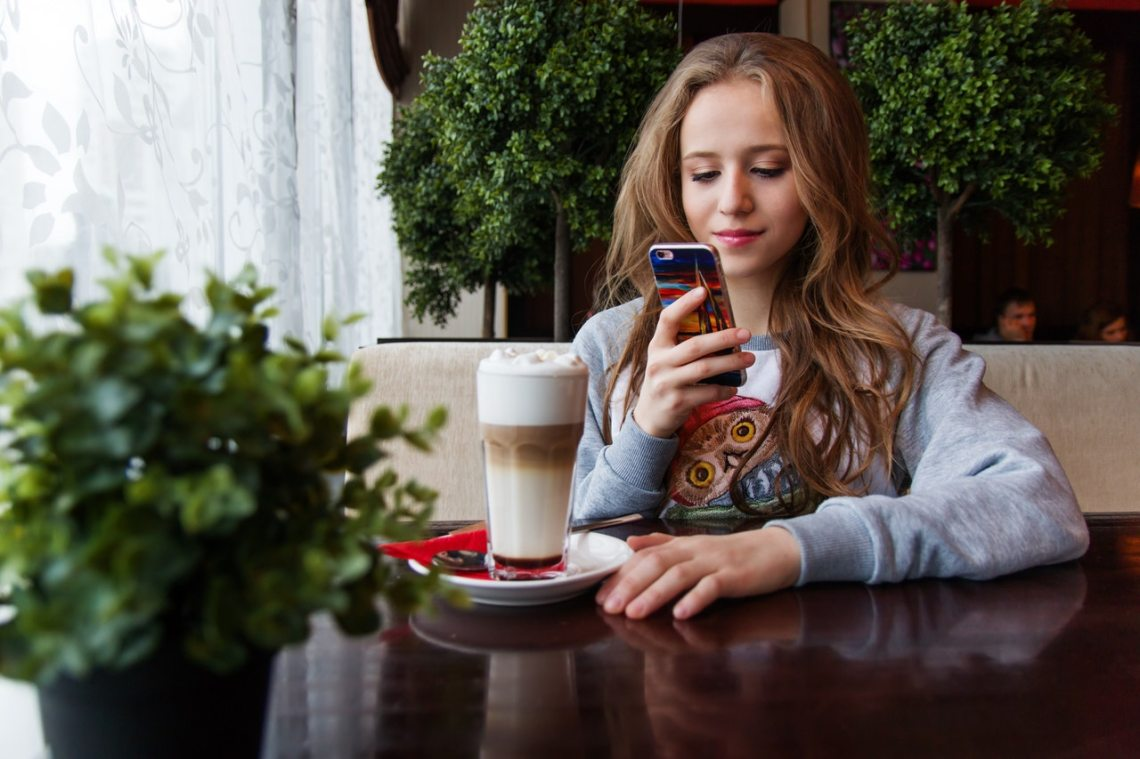 A girl about to text him