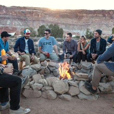 friends around bonfire