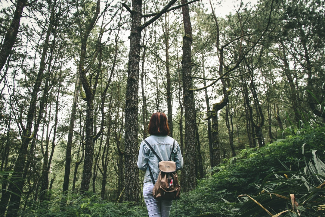 A woman carrying a brown backpack and going hiking in a green forest in Kintamani