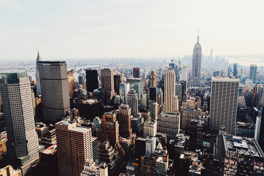 The downtown New York City skyline from Top of the Rock during the day