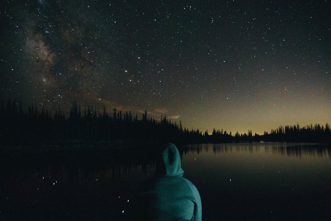 person wearing green hoodie facing on body of water and trees