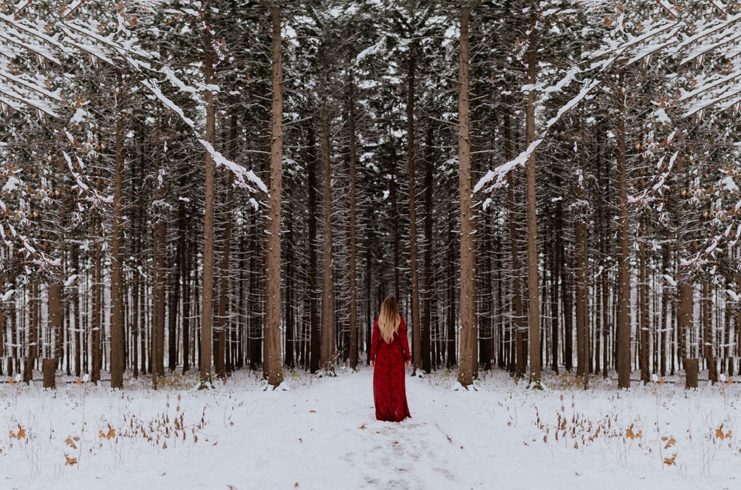 A woman with long hair in a red dress stands at the entrance of a snowy forest