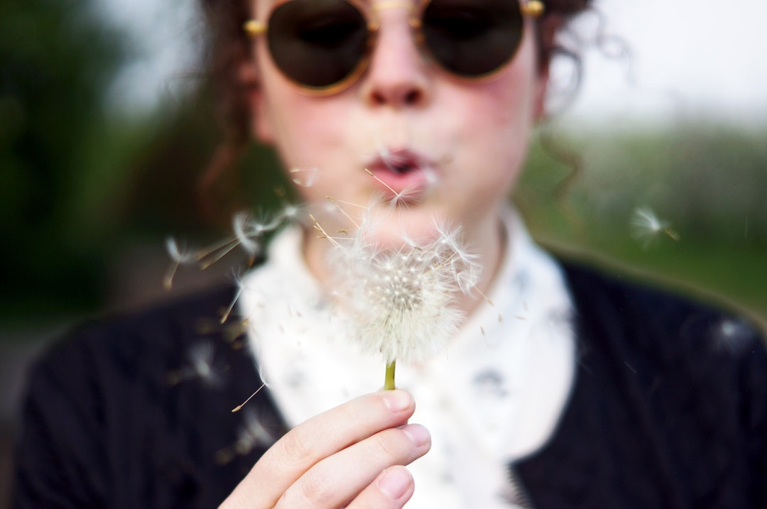 woman blowing white dandelion flower