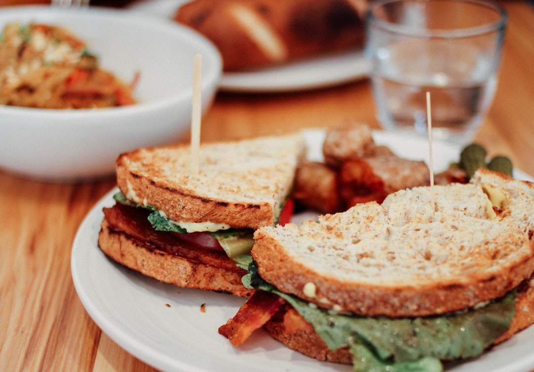 BLT sandwich at the table of an American deli restaurant