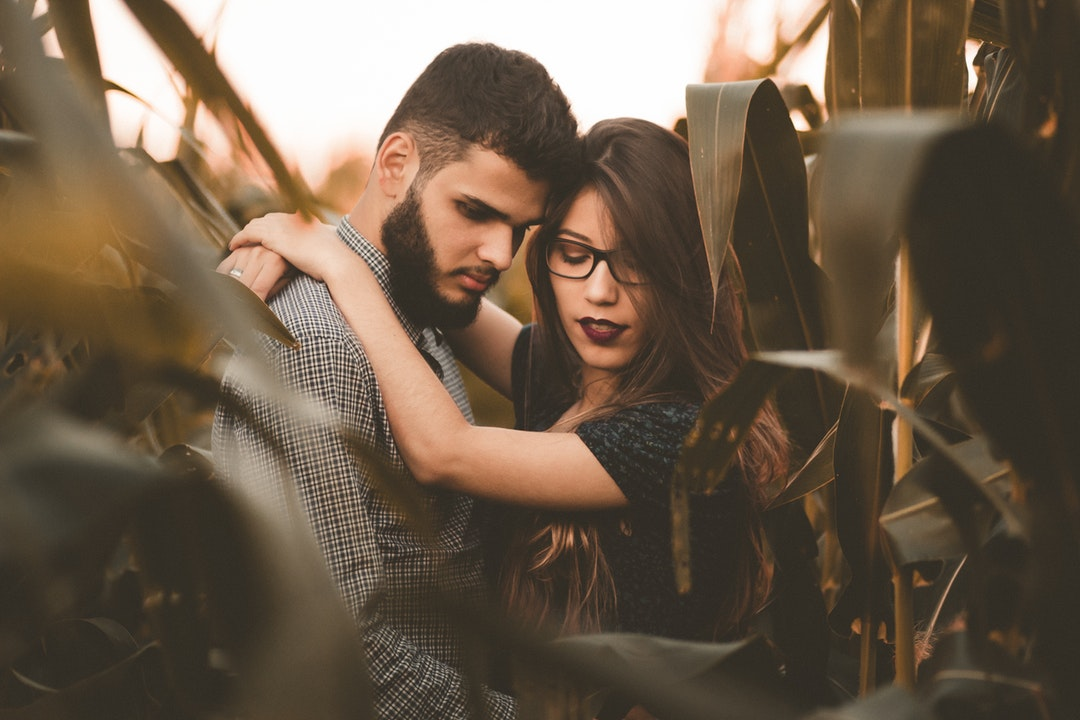 Couple embraces and looks down while standing in a cornfield