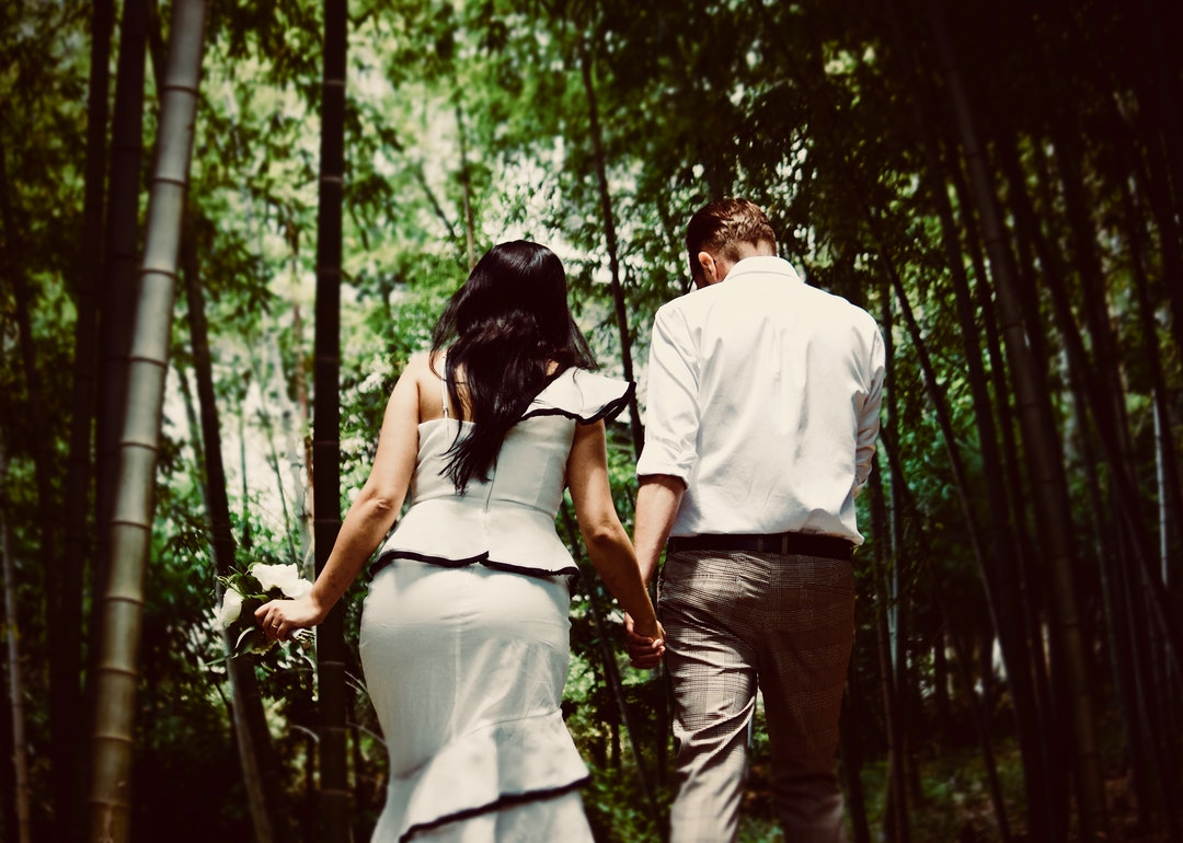 man and woman holding hands while walking near trees
