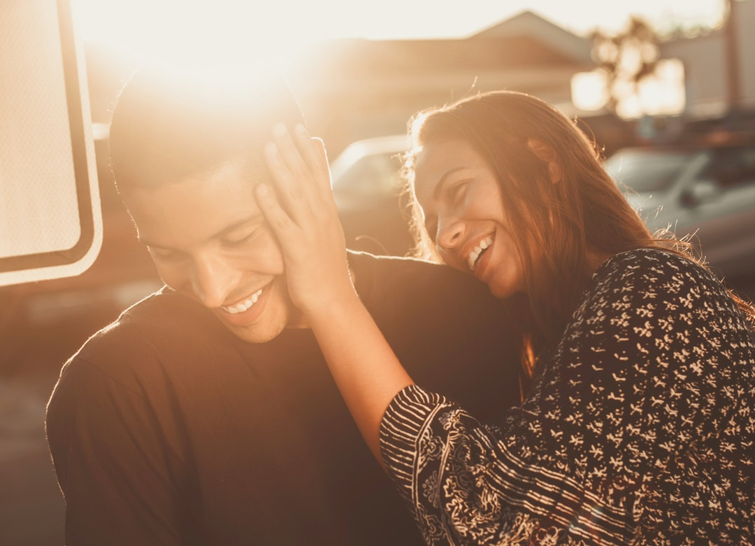 smiling man and woman