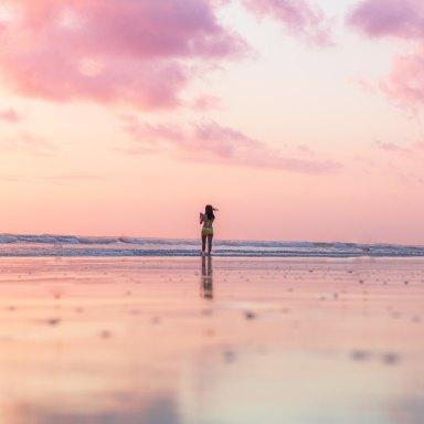 girl on a sunset beach