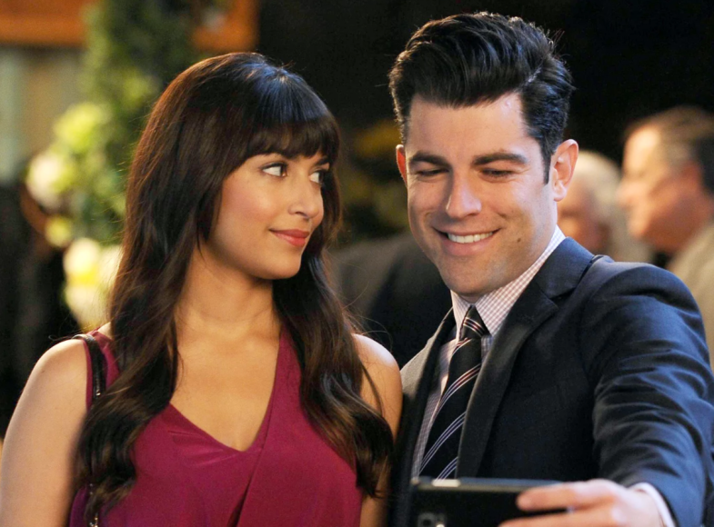 Schmidt and Cece on New Girl taking a selfie