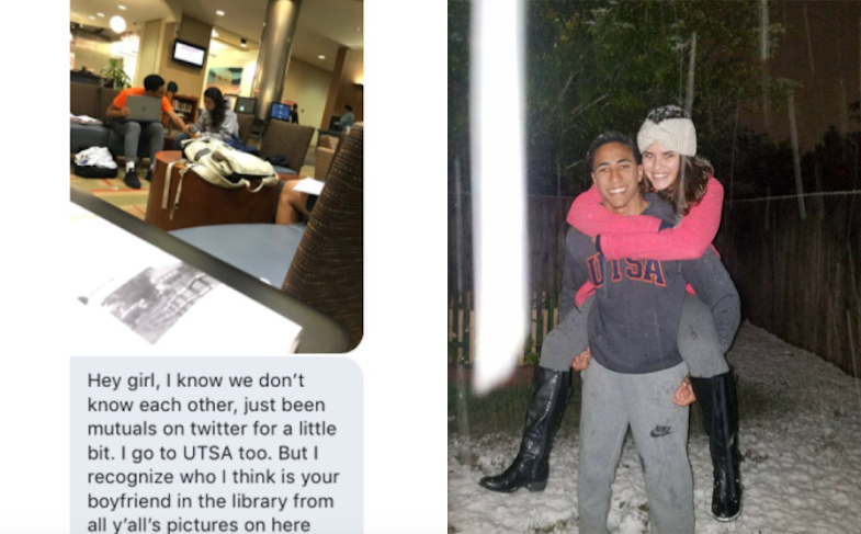 Woman with her boyfriend and a message from a girl who thought he was cheating on her