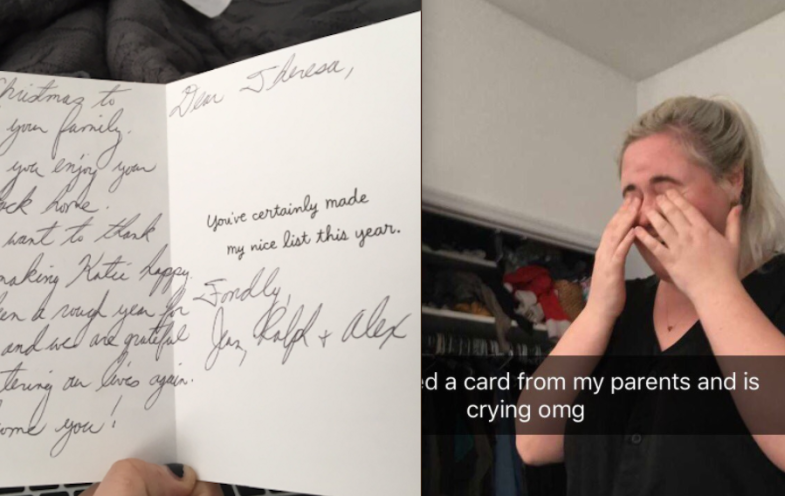 A holiday card from a girl's parents to her girlfriend