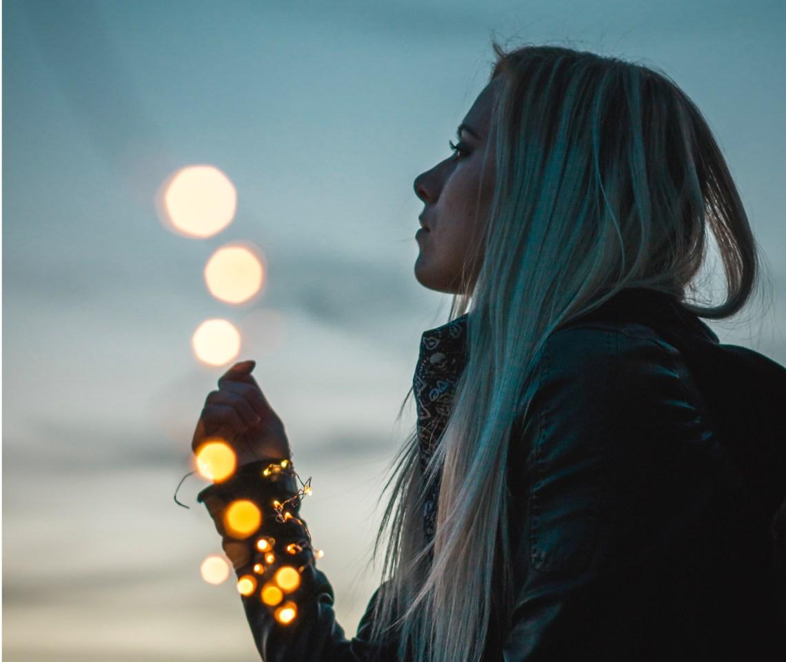 girl with lights looking up at sky, positive, god guide your feet, faith, faith in god, Christian faith