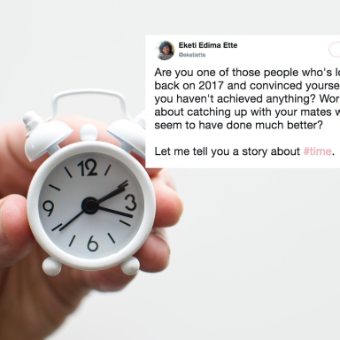 a person holding a tiny clock and a tweet about time