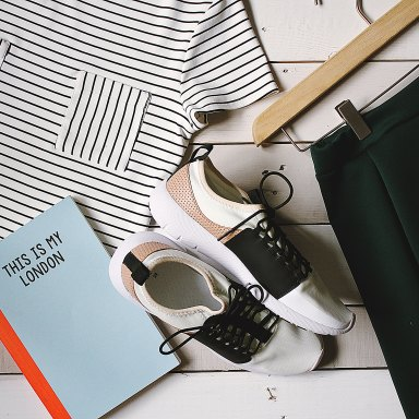 clothes and shoes and a book