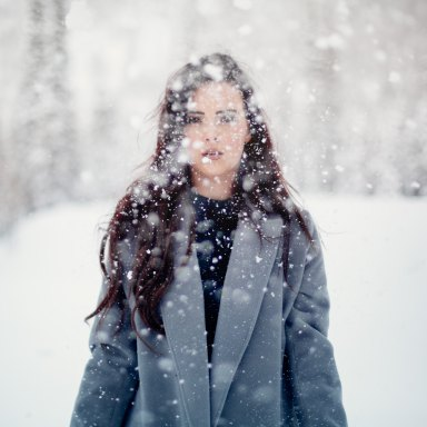 woman staring in the snow