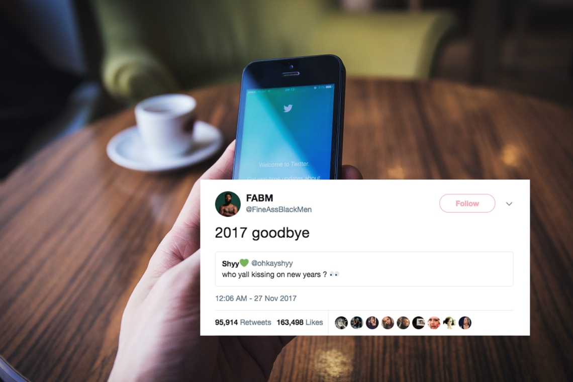 A man on Twitter on hsi phone and a hilarious tweet about 2017