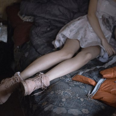 girl in a bed with bare legs