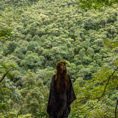 girl in a green forest spiritual