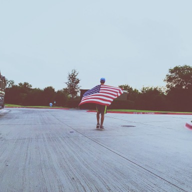 man with an american flag
