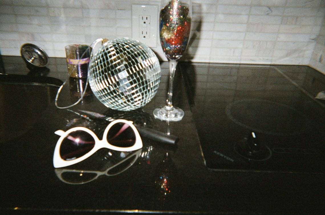 Champagne flute and white glasses