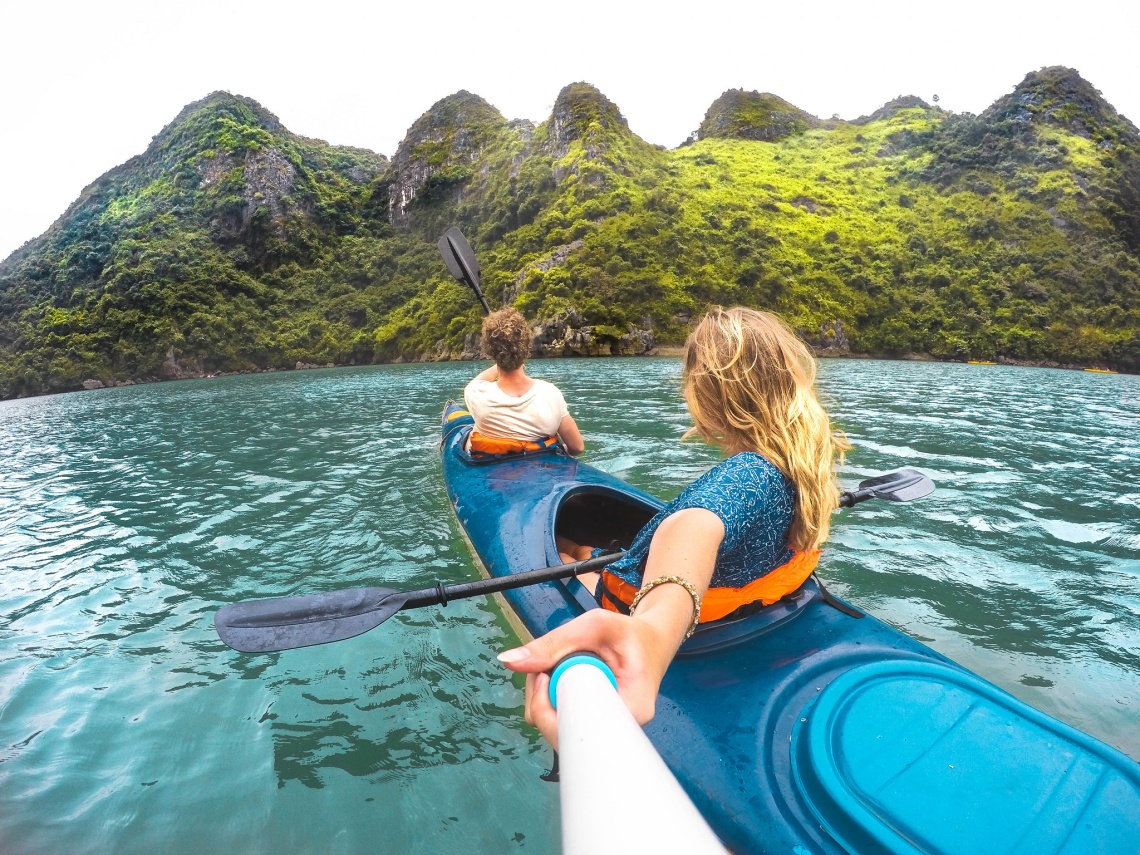 Couple kayaking in Quito, Ecuador with a Selfie Stick