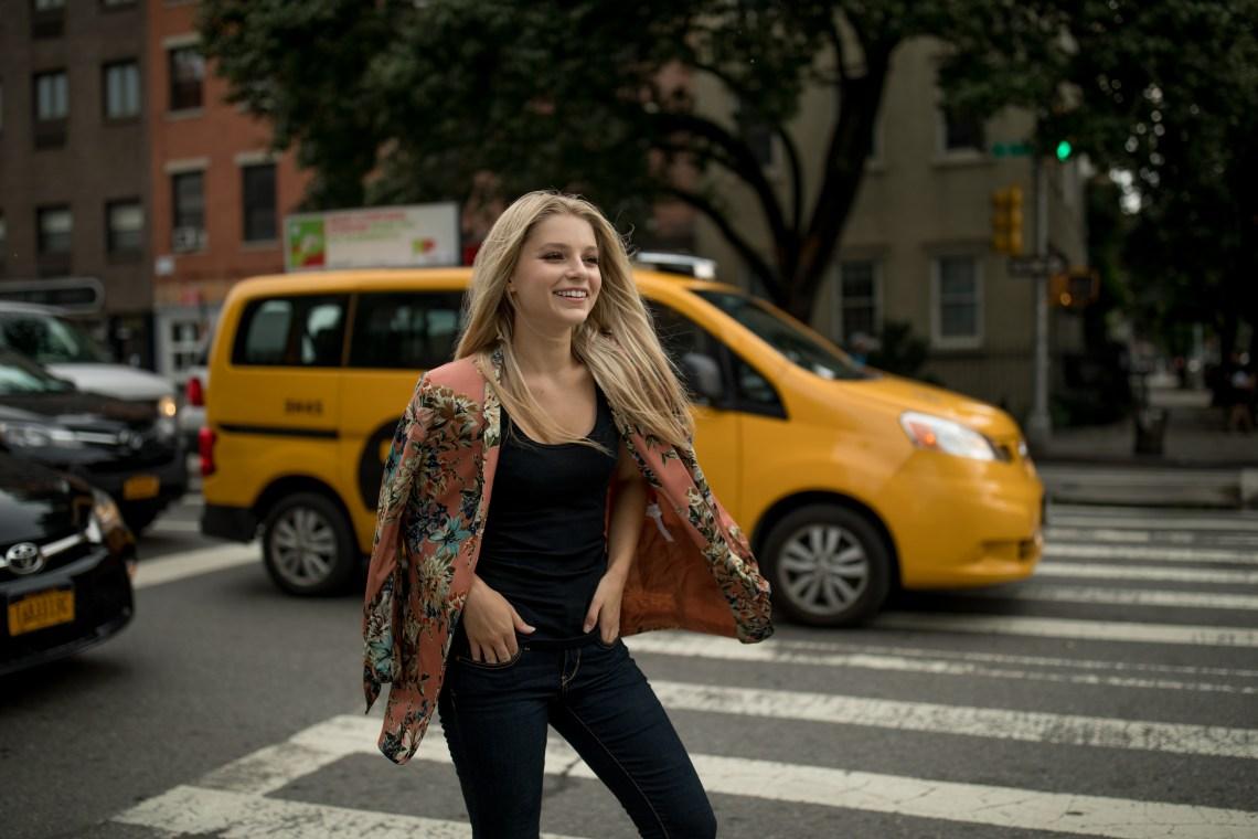woman walking in NYC