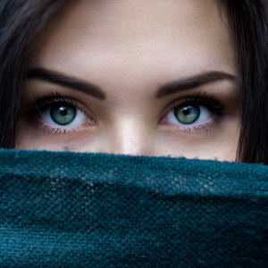 eyes behind a sheet