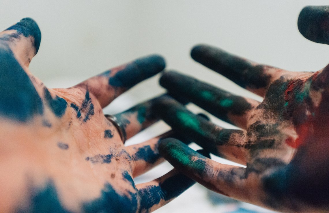 messy painter hands