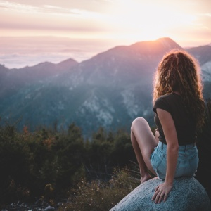 Woman looking at beautiful view