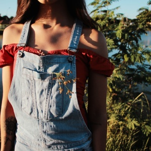 Woman wearing overalls