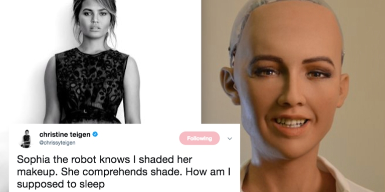 Sophia The Robot Just Called Out Chrissy Teigen For Shading Her On Twitter And I AmSHOOK