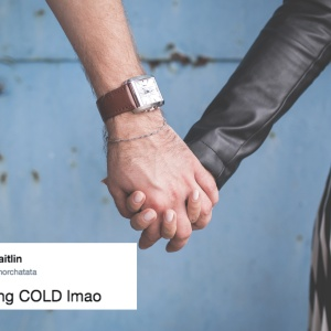 couple holding hands and a tweet about cold