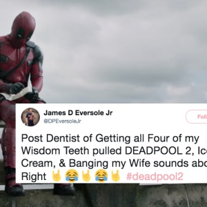 Deadpool sitting on the highway in a trailer for Deadpool