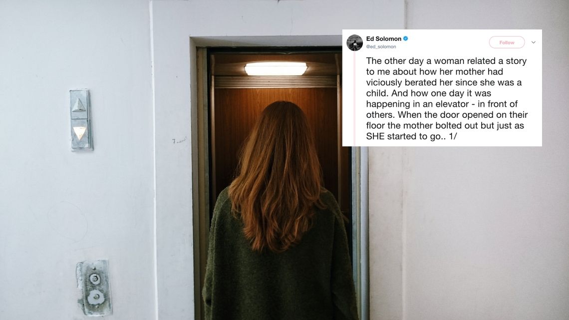 A woman entering a small elevator and a tweet about an act of random kindness