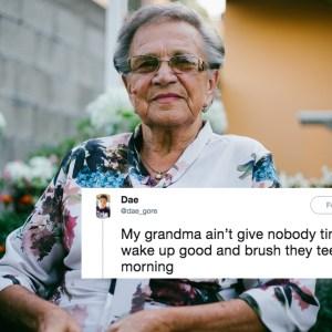 Grandma smiling at the camera and a tweet