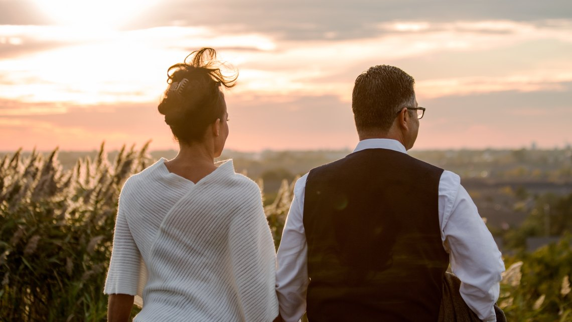 couple staring into the sunset