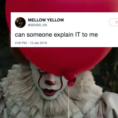 A screenshot of Pennywise from the IT trailer and a tweet