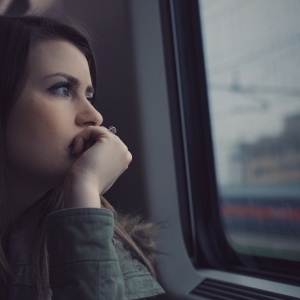 woman thinking during commute