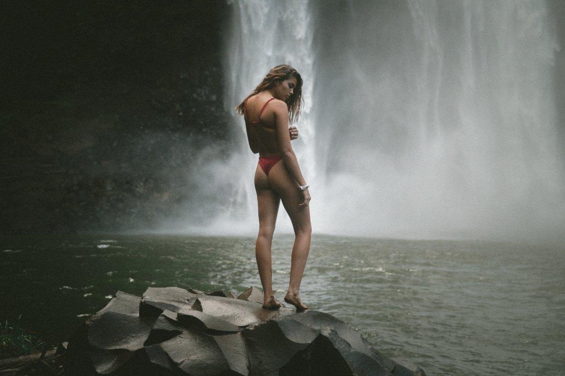girl in a waterfall