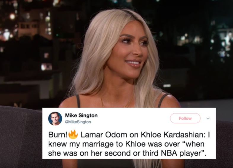 Kim Kardashian on Jimmy Kimmel and a tweet about Lamar Odom and Khloe Kardashian