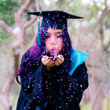 woman in graduation outfit