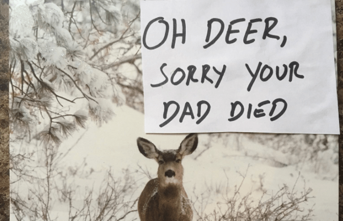 This Man Found A Genius Way To Reuse Old Christmas Cards All Year And It'sHilarious