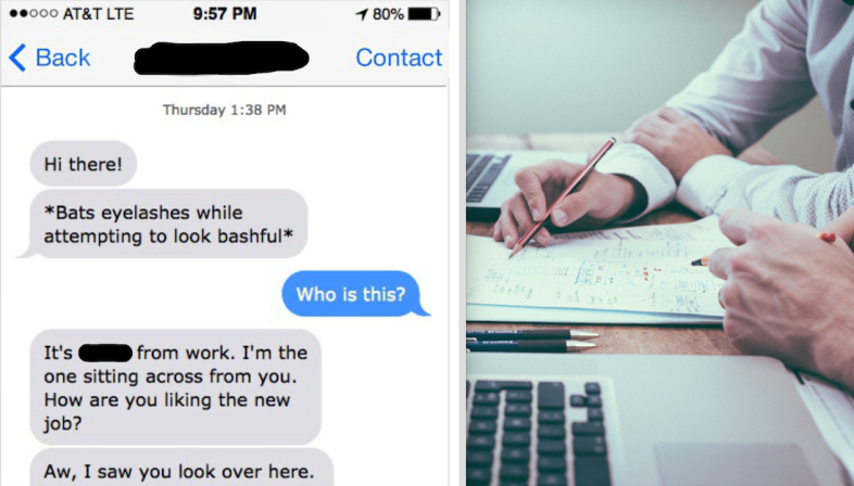 Fuckboy texts a woman he works with and two people work at laptops
