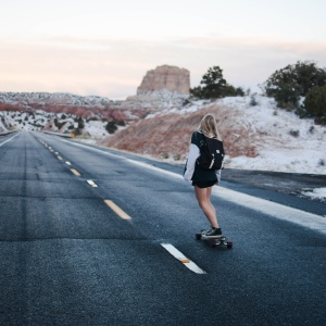 girl longboarding