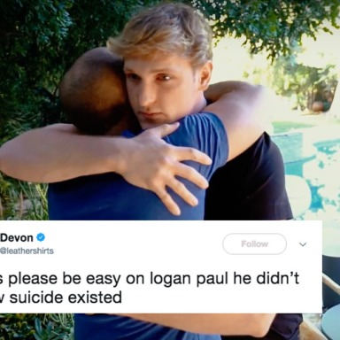 Logan Paul hugging a suicide survivor on his new blog