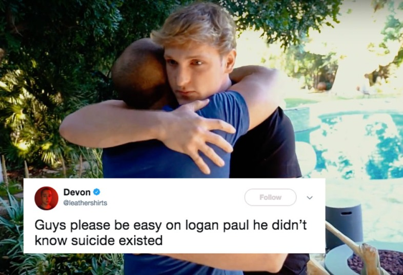 Logan Paul hugging a suicide survivor on his new blog