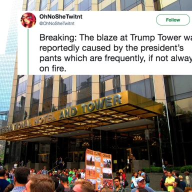 Trump Towers in New York and a tweet about the fire