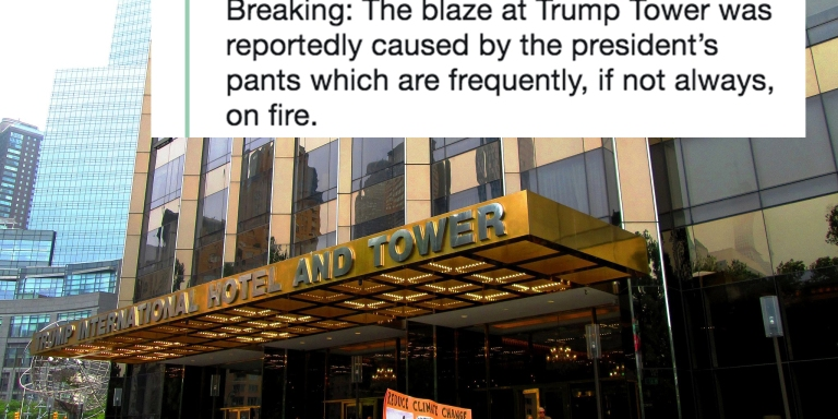 Trump Tower Caught On Fire And It's Already The Hottest Meme Of2018